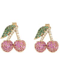 Gabi Rielle Cherry Bling Cz Earrings - Multicolour