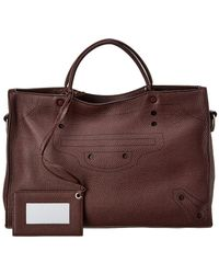 Balenciaga Blackout City Aj Medium Leather Shoulder Bag - Brown