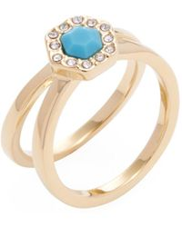 Rebecca Minkoff | Pave Gem Double Band Trend Ring | Lyst