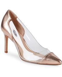Charles David - Clear Metallic Leather Court Shoes - Lyst