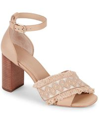 Pour La Victoire - Fringed Stacked Block Leather Sandals - Lyst