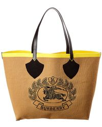 Burberry - Giant Knit Archive Crest Leather-trim Tote - Lyst 48a178d1c1952