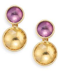 Marco Bicego - Jaipur Light Amethyst, Citrine & 18k Yellow Gold Double Drop Earrings - Lyst