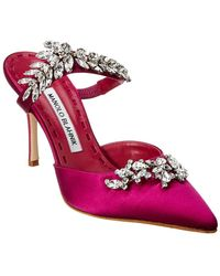 Manolo Blahnik Lurum 90 Satin Mule Pump