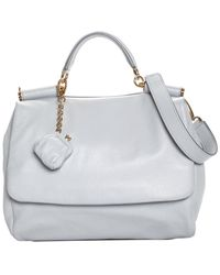 Dolce   Gabbana - Baby Blue Leather Miss Sicily Satchel - Lyst 274c98ade9056