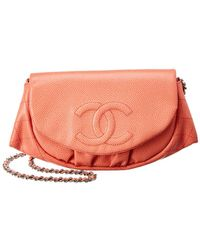Chanel - Coral Caviar Leather Half-moon Wallet On Chain - Lyst