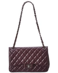 af5763c8a9175e Chanel - Purple Quilted Lambskin Leather Classic Jumbo Double Flap Bag -  Lyst