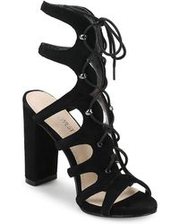 Nine West - Suede Lace-up Cage Sandals - Lyst
