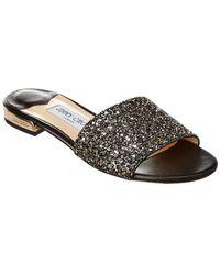 580b29d8da33 Lyst - Jimmy Choo Joni Flat Leather And Glitter Sandals in Black
