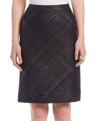 Lanvin - Whipstitch Leather Pencil Skirt - Lyst