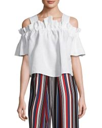 WHIT - Mariposa Linen Gathered Top - Lyst