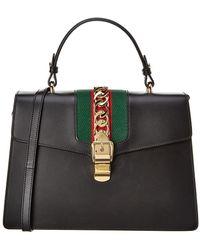 ed69e8767c2 Gucci - Sylvie Medium Top Handle Leather Satchel - Lyst
