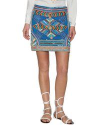 Pia Pauro - Embroidered Mini Skirt - Lyst