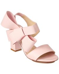 Delpozo - Oversized Bow Leather Sandal - Lyst