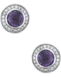 David Yurman - David Yurman Cerise Silver 0.22 Ct. Tw. Diamond & Amethyst Studs - Lyst