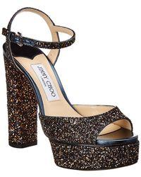 Jimmy Choo - Peachy 125 Glitter & Leather Sandal - Lyst