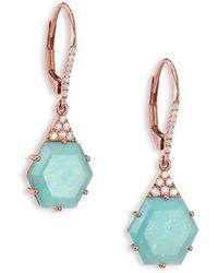 Meira T - Blue Amazonite, Diamond & 14k Rose Gold Hexagon Drop Earrings - Lyst