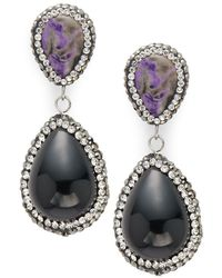 Kevia - Crystal Studded Drop Earrings - Lyst