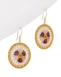 Miguel Ases - 18k Plated Crystal Disc Earrings - Lyst