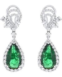 Diana M. Jewels - . Fine Jewelry 18k 11.01 Ct. Tw. Diamond & Emerald Drop Earrings - Lyst