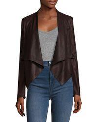 Lamarque - Leather Cowl Neck Asymmetrical Biker Jacket - Lyst