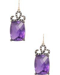 Suneera - Rati 14k Yellow Gold Blackened Silver And Amythyst Diamond Earrings - Lyst