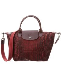 Longchamp - Le Pliage Collection Small Canvas & Leather Top Handle Tote - Lyst