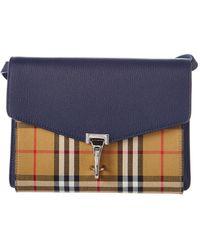 Burberry - Small Macken Vintage Check Canvas & Leather Crossbody - Lyst