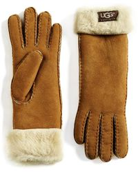UGG - Shearling Cuff Suede Gloves - Lyst