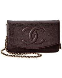 Chanel - Chocolate Caviar Leather Timeless Cc Wallet On Chain - Lyst