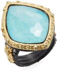 Armenta - Old World 18k Gold, Turquoise, Moonstone & 0.28 Total Ct. Diamond Carved Kite Fleur De Lis Ring - Lyst