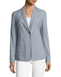 T Tahari - Striped Linen-blend Blazer With Trim - Lyst