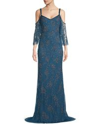 THEIA - Cold Shoulder Flounce Floor-length Gown - Lyst