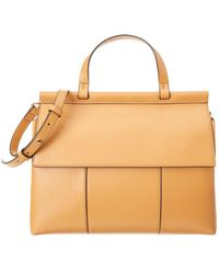 Tory Burch - Block-t Leather Satchel - Lyst