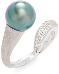 Tara Pearls - 18k Gold Tahitian Pearl & Diamond Ring - Lyst