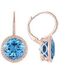 Diana M. Jewels - 14k Rose Gold 12.10 Ct. Tw. Diamond & Topaz Earrings - Lyst