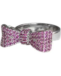 King Baby Studio - Silver Pink Cz Baby Bow Ring - Lyst