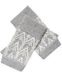 Sofia Cashmere - Cashmere Fair Isle Fingerless Gloves - Lyst
