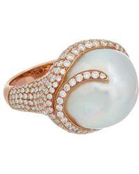 Tara Pearls - 18k Rose Gold 3.16 Ct. Tw. Diamond & 16-17mm South Sea Pearl Ring - Lyst