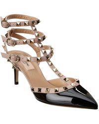 fe0e3b779a Valentino - Rockstud Caged 65 Patent Ankle Strap Pump - Lyst