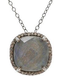 Adornia - Fine Jewelry Silver 5.40 Ct. Tw. Diamond Labradorite Pendant Necklace - Lyst
