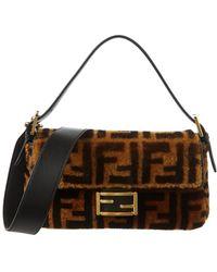 Fendi - Ff Shearling & Leather Shoulder Bag - Lyst