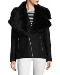 Lamarque - Kiri Shearling Collar Moto Jacket - Lyst