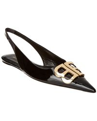 Balenciaga - Black Bb Logo Slingback Court Shoes - Lyst