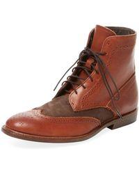 Vintage Shoe Company - Benedict Suede & Leather Wingtip Boot - Lyst