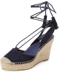 Elorie - Leather Ankle-wrap Wedge - Lyst