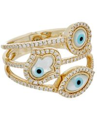 Diana M. Jewels - . Fine Jewellery 14k 0.37 Ct. Tw. Diamond Evil Eye & Hamsa Ring - Lyst
