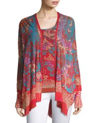 Fuzzi - Printed Shawl Collar Cardigan - Lyst