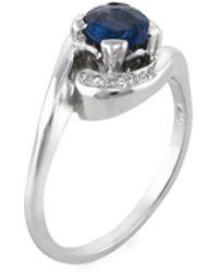 Estate Fine Jewelry - Estate 14k White Gold, Blue Sapphire & 0.04 Total Ct. Diamond Ring - Lyst
