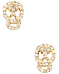 CR By Casa Reale - 14k Yellow Gold & 0.12 Total Ct. Diamond Skull Stud Earrings - Lyst